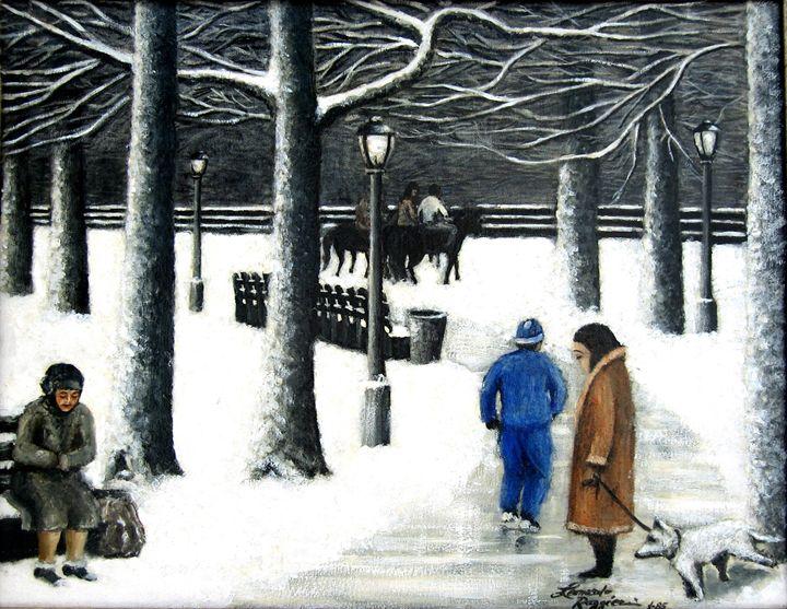 Homeless in Central Park - Leonardo Ruggieri Fine Art Paintings