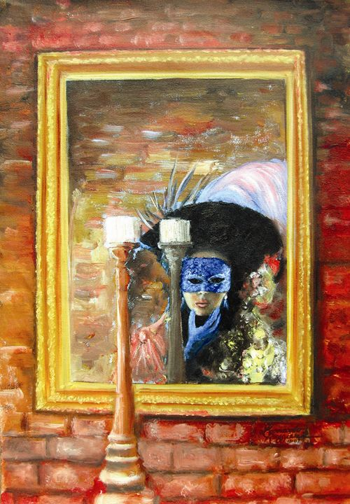 Girl in Mirror - Leonardo Ruggieri Fine Art Paintings
