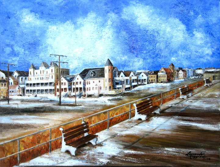 Ocean  Grove in Winter - Leonardo Ruggieri Fine Art Paintings