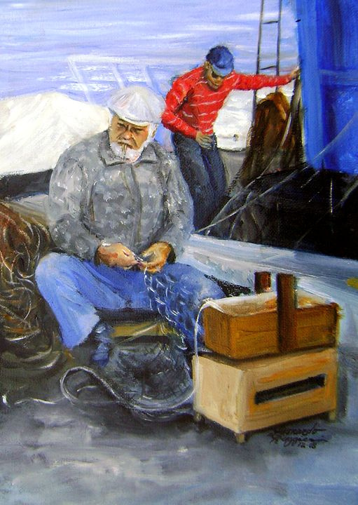 Fishermen From MolaDiBari, Italy - Leonardo Ruggieri Fine Art Paintings