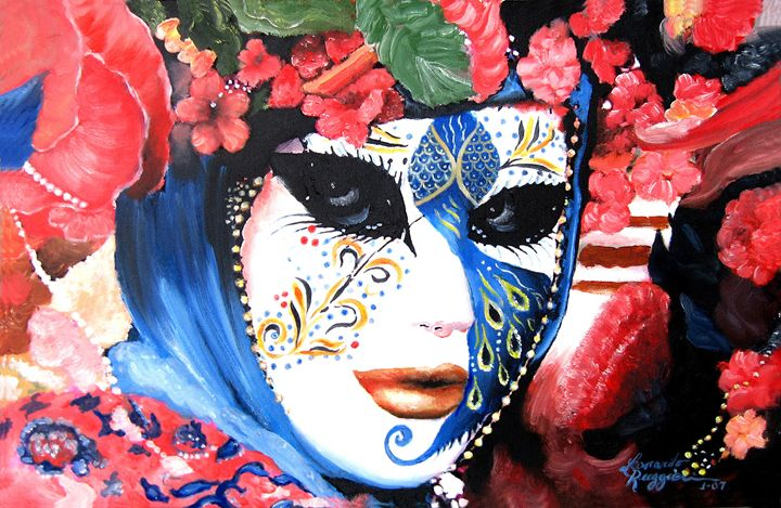 Venetian carnevale mask III - Leonardo Ruggieri Fine Art Paintings