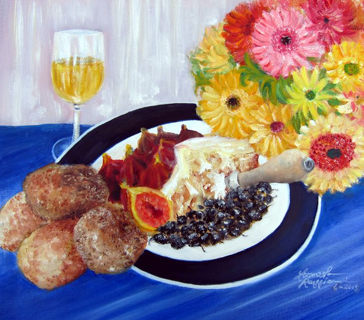 Figs, Wine, Cheese & Bread - Leonardo Ruggieri Fine Art Paintings
