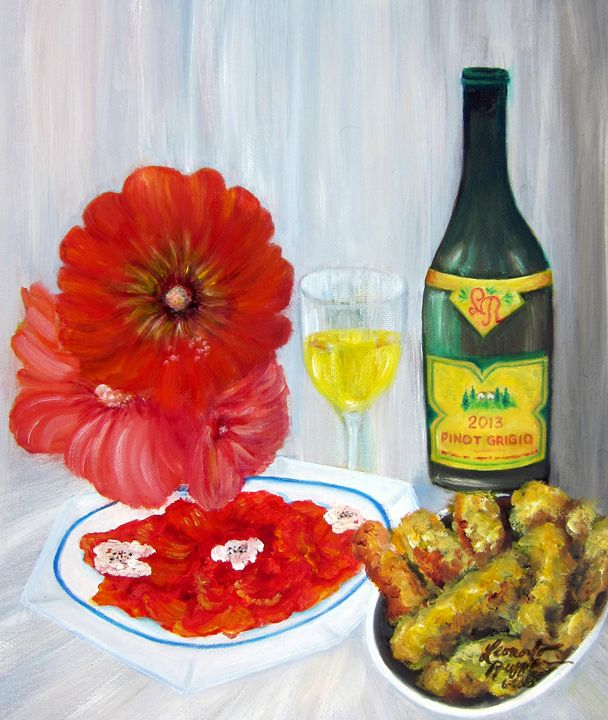 Still Life with Salmon & Wine - Leonardo Ruggieri Fine Art Paintings