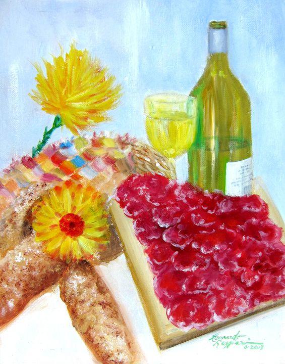 Still Life with Prosciutto & Bread - Leonardo Ruggieri Fine Art Paintings
