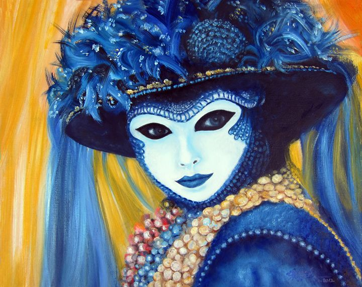 Venetian Mask in Blue - Leonardo Ruggieri Fine Art Paintings