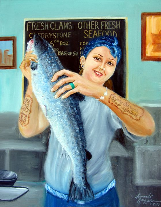 Gina's Fresh Catch - Leonardo Ruggieri Fine Art Paintings