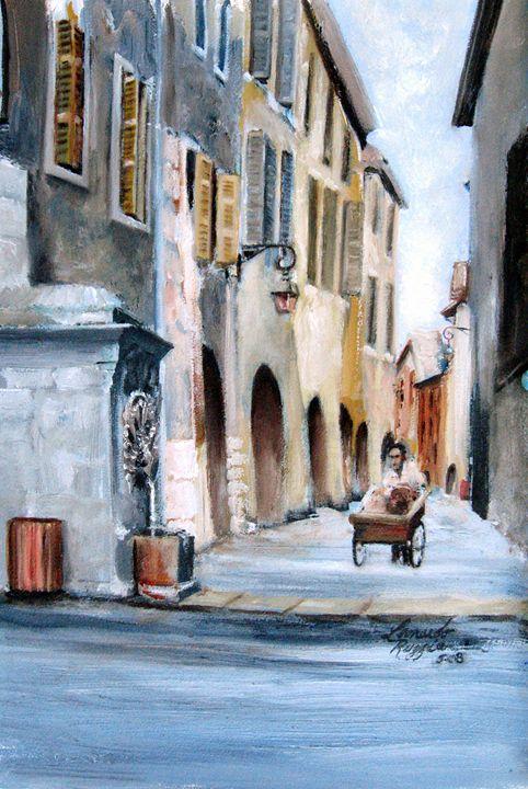Early Morning Vendor - Leonardo Ruggieri Fine Art Paintings