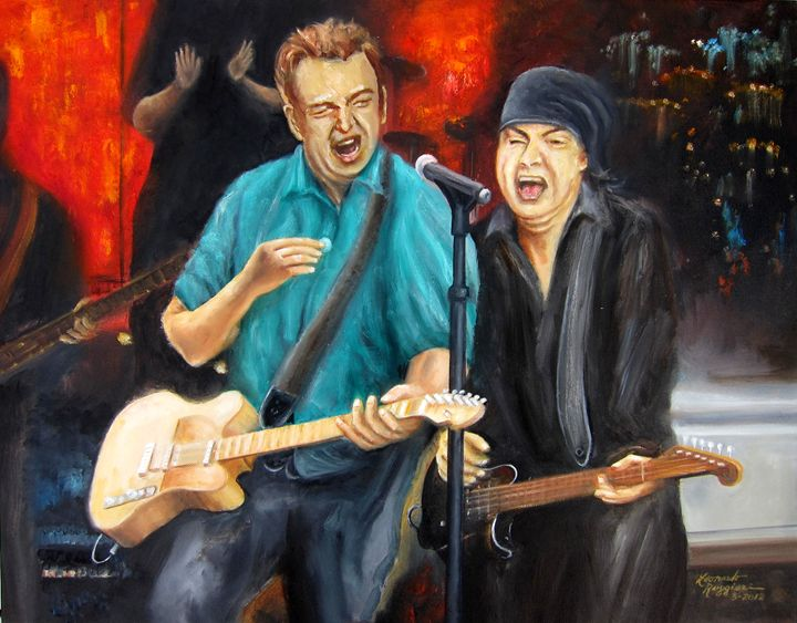 Bruce and Steven at the Apollo - Leonardo Ruggieri Fine Art Paintings