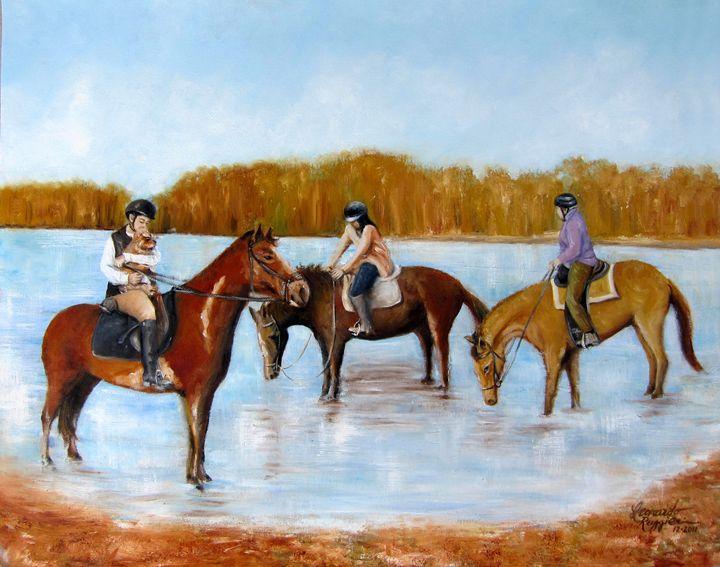 Horseback Riding on Marlu Lake NJ - Leonardo Ruggieri Fine Art Paintings