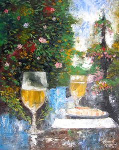 Wine and Cheese at the Meeting Stree - Leonardo Ruggieri Fine Art Paintings