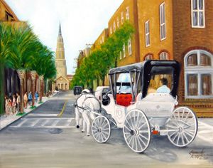 Charriot Stroll in Charleston - Leonardo Ruggieri Fine Art Paintings
