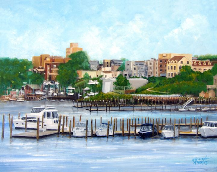 Red Bank from the Molly Pitcher - Leonardo Ruggieri Fine Art Paintings