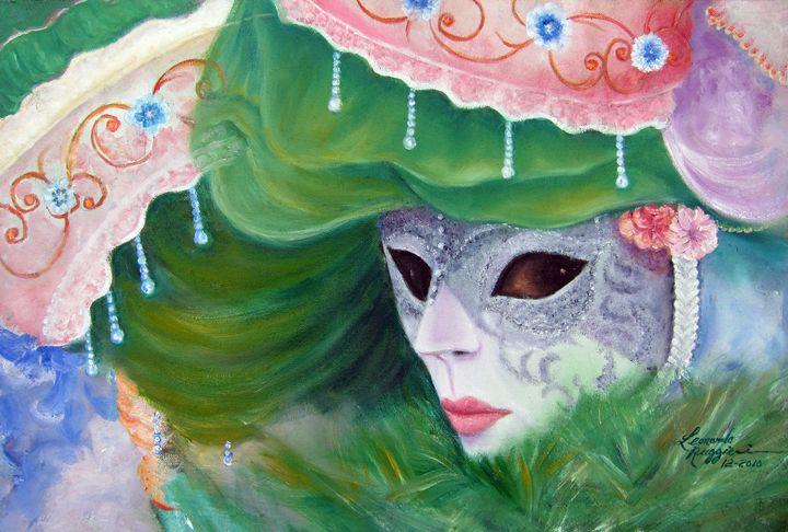 Venetian Mask in Green - Leonardo Ruggieri Fine Art Paintings