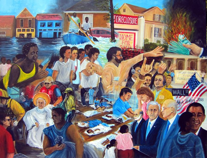 US History Katrina, Fin. Meltdown - Leonardo Ruggieri Fine Art Paintings