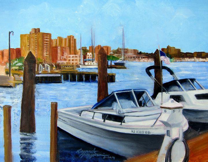 Red Bank Skyline from Marine Park - Leonardo Ruggieri Fine Art Paintings