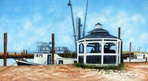 Belford Fishing Port NJ with Gazebo - Leonardo Ruggieri Fine Art Paintings