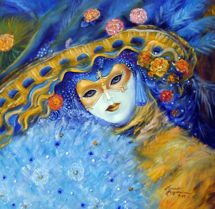 venetian carneval mask with feathers - Leonardo Ruggieri Fine Art Paintings