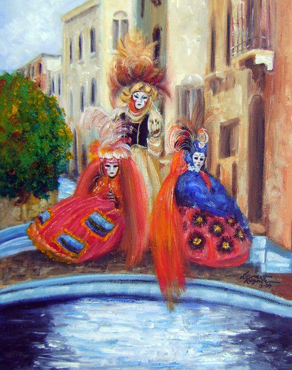 Three Venetians on a Bridge - Leonardo Ruggieri Fine Art Paintings