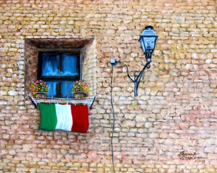 Patriotic Italian Window - Leonardo Ruggieri Fine Art Paintings