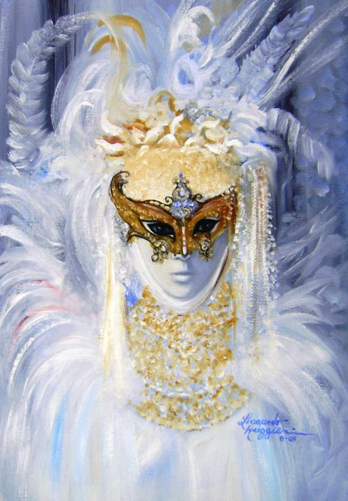 Venetian with White Feathers - Leonardo Ruggieri Fine Art Paintings