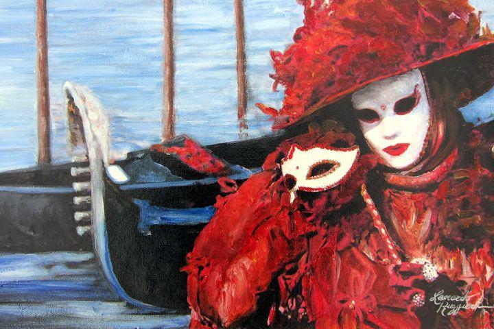 Venetian Mask with Gondolas II - Leonardo Ruggieri Fine Art Paintings
