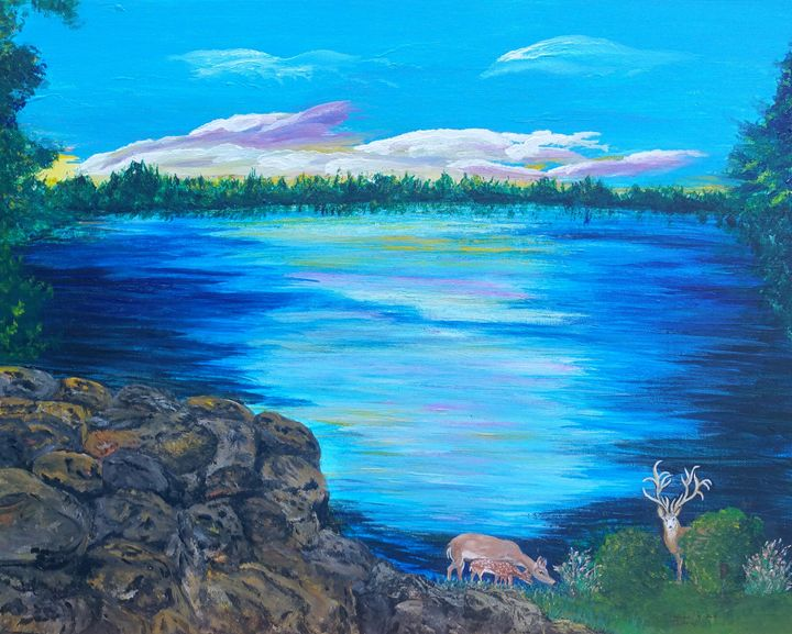 Deer Family At The Lake - Fun With Art