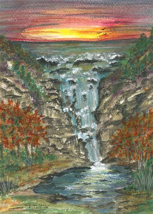 Sunset Falls - Fun With Art
