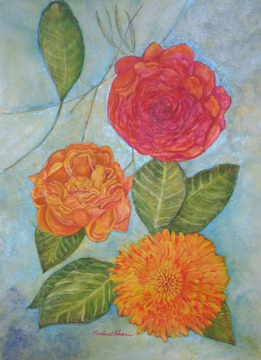 Peonies And Mums - Fun With Art