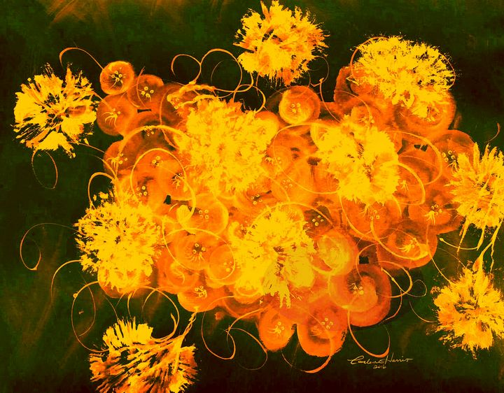 Flowers, Buttons And Ribbons -Orange - Fun With Art