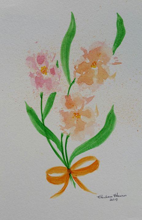 Paw Print Posy - Pink and Orange - Fun With Art