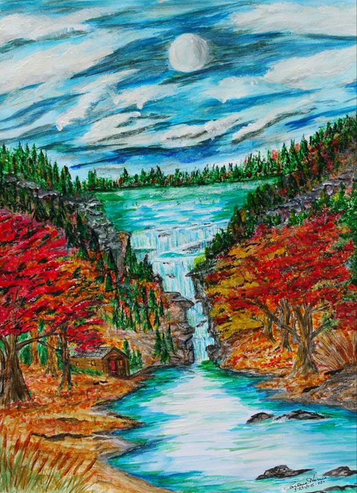 Moonlight Falls - Fun With Art