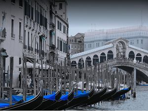 Gondolas at the Rialto Bridge Venice