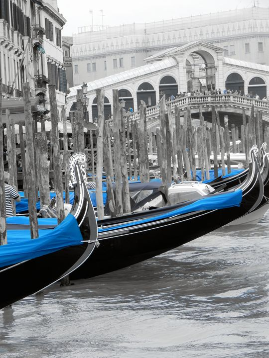 Detailed gondolas at Rialto Bridge - Elise Heisler