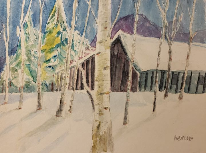 Winter Cabin - Rob Menter Fine Art