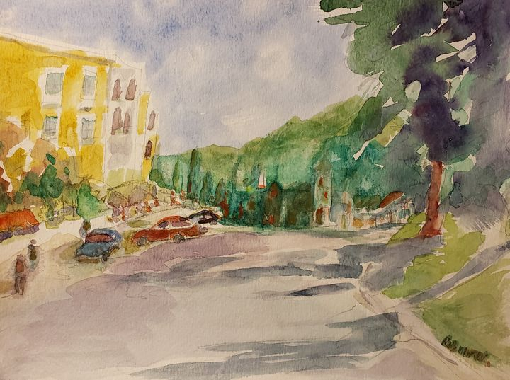 Sunday Village - Rob Menter Fine Art