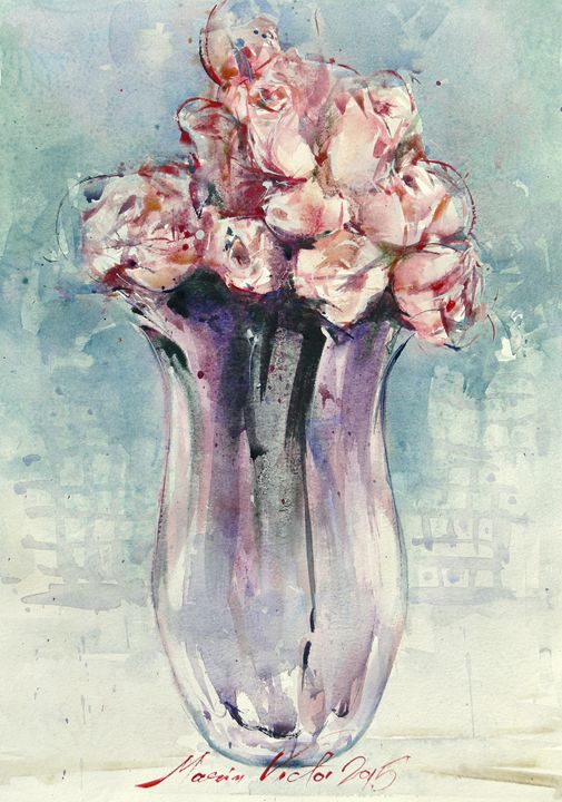 Roses on Vase - Marin Victor