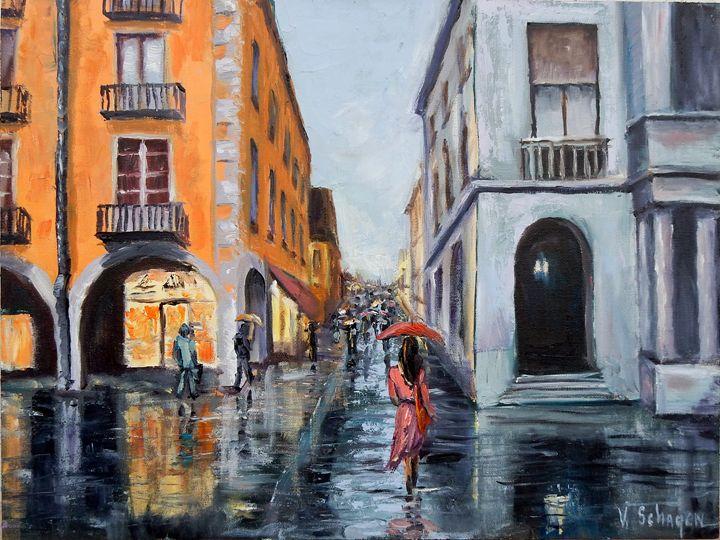 Rainy Cityscape. Ready to hang. - Vita Schagen