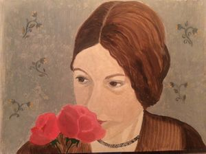 A girl with roses