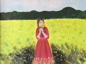 A girl on a meadow