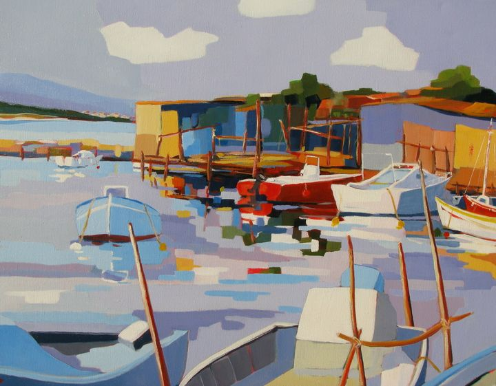 A little harbor in Southern France - Jean-Noël Le Junter's paintings