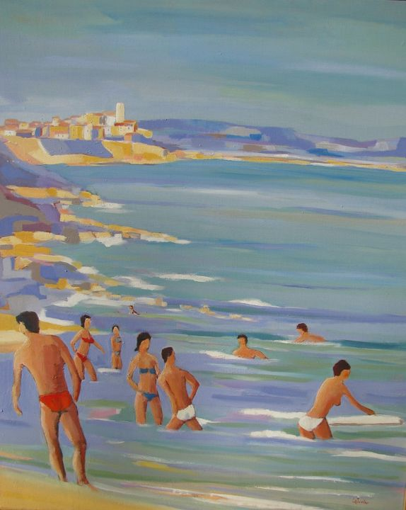 Bathers in Antibes - Jean-Noël Le Junter's paintings