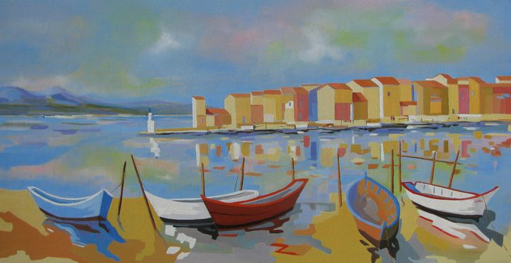 Fishing harbor in  Southern France - Jean-Noël Le Junter's paintings