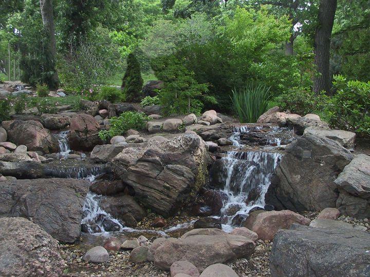 Water fall out of green garden - Hidden Mouse Art