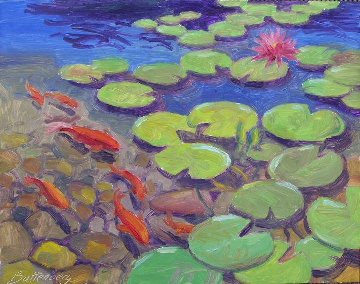 Koi and Water Lilies - Battenberg Gallery