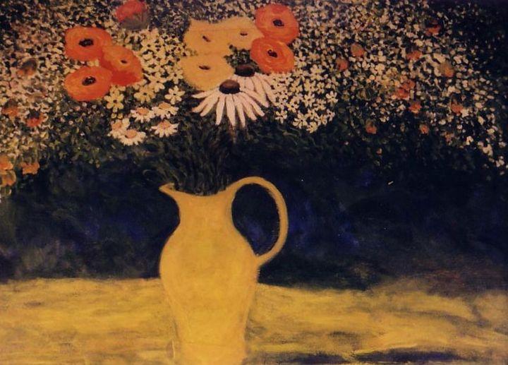 Wildflowers in Yellow Vase - Carolynchoiartstudio.com