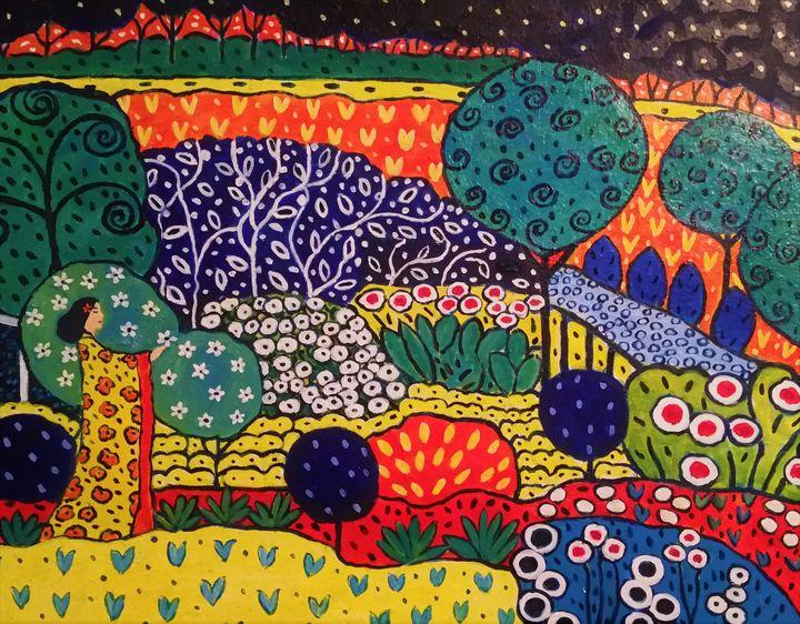 Cecile in the Garden - Carolynchoiartstudio.com