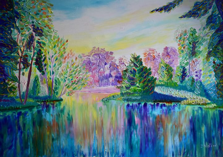 Morning in the forest - Landscape_painting