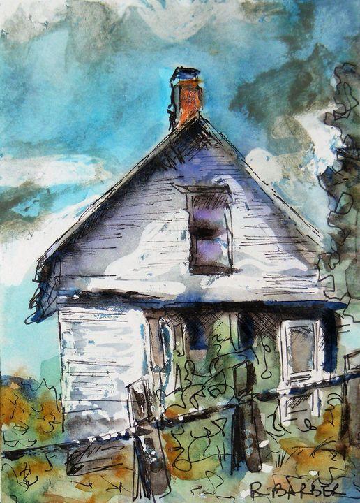 Cottage with Clothesline - Robyn Barber Fine Art
