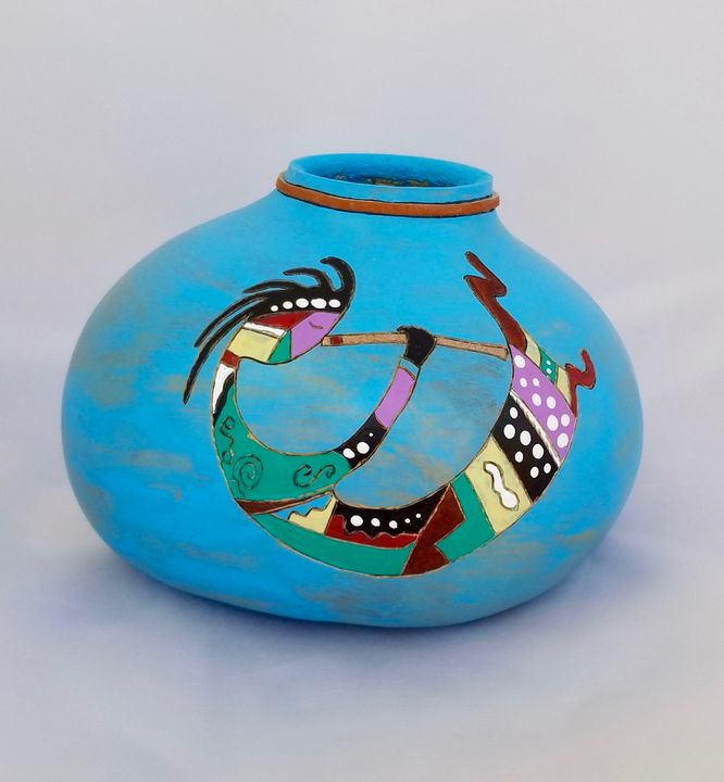 Kokopelli in Turquoise - Marty's Gourd Dust