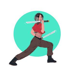 Warrior Girl Practicing Sword